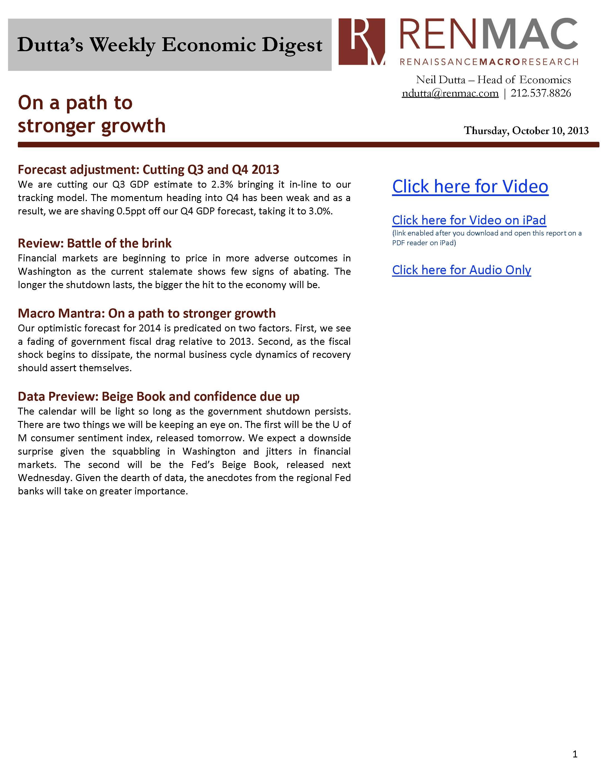 Dutta's Weekly Economic Digest 10/10/2013
