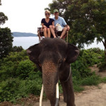 Thailand Elephant Trek,  Will and his wife, Cassie.